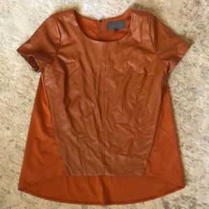 Anthropologie leather-like top